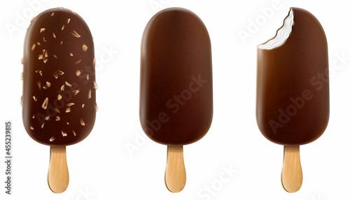 Fotografia Set of ice cream with chocolate glaze, and nuts on a stick