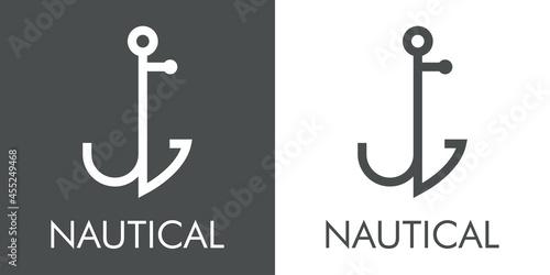 Fotografiet Logotipo con texto Nautical y silueta de ancla de barco con forma de letra inici