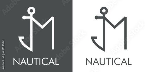 Stampa su Tela Logotipo con texto Nautical y silueta de ancla de barco con forma de letra inici