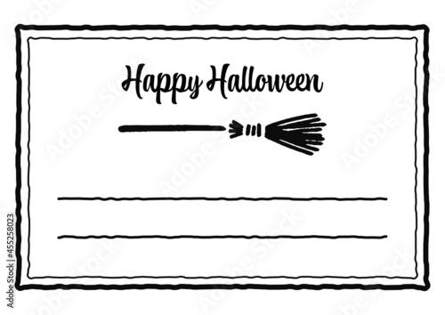 ハロウィンのメッセージカードデザイン、魔女の箒のベクターイラスト Fototapet