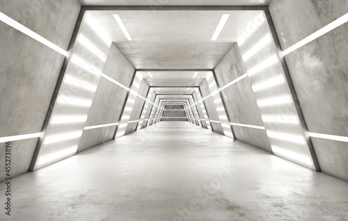 Obraz na plátne Abstract futuristic space ship interior in light colors