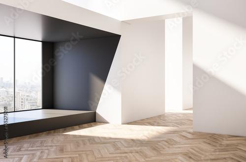 Fotografia Modern bright wooden and white concrete empty interior with city view
