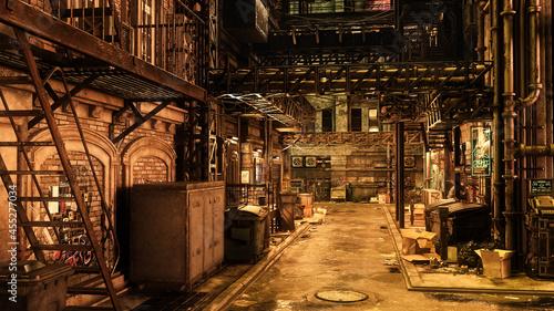 Vászonkép Cyberpunk concept 3D rendering of a seddy dark dystopian futuristic urban city back street at night