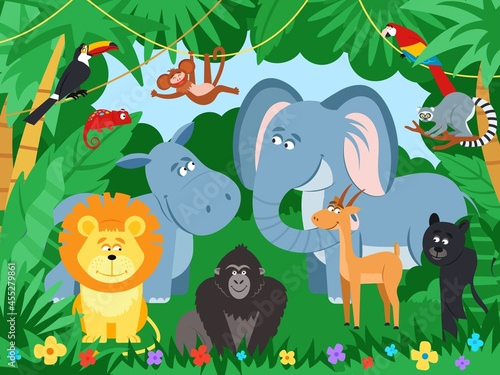 Fototapeta premium Cartoon tropical animals. Wildlife zoo animal, jaguar parrot in jungle leaf. Cute elephant, monkey in rainforest. Wild characters decent vector poster