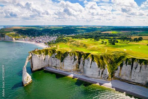Fotografiet Etretat cliffs aerial shot