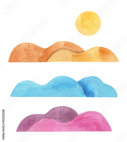Fotografie, Obraz Abstract sunrise in colorful mountains