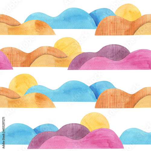 Fotografering Seamless pattern with Abstract sunrise in colorful mountains