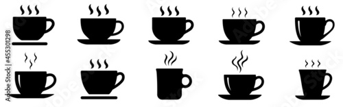Fotografering Coffee cup icons set. Coffee Tea cup symbol. Vector