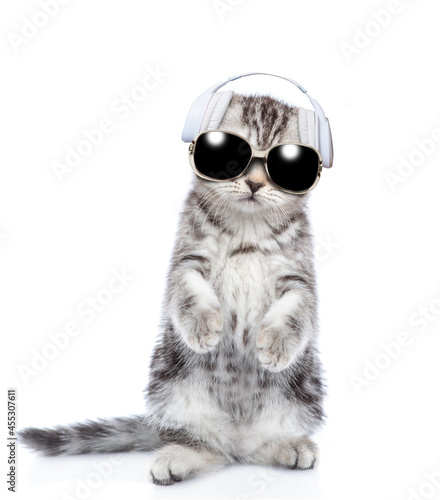 Fotografiet Cute kitten wearing a headphones and sunglasses stands on hind legs and listens music