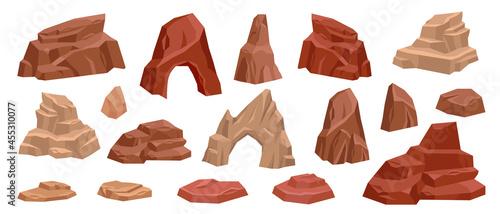 Obraz na płótnie Desert rock cartoon vector set, stone canyon landscape illustration, red Mexico arch boulder dry cliff