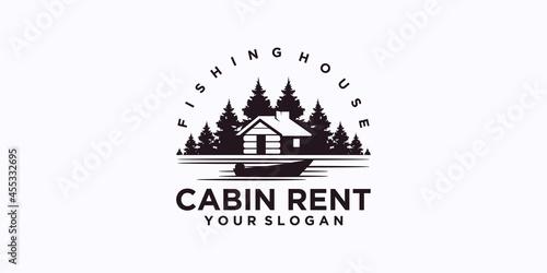 Fotografija fishing home logo, cabin house rent logo