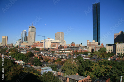Canvas Print The skyline of Boston, Massachusetts viewed from the YWCA, Berkeley Street