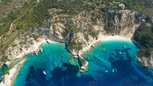 Tela Aerial drone photo of beautiful azure deep turquoise bay and beach of Galazio ne