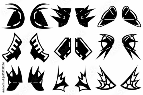 Murais de parede A set of nine silhouettes of the elements of the armor on the shoulders for games, web sites, design and more