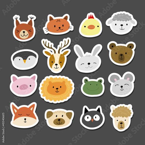 Fototapeta premium Animal Stickers Set. Childish Style. Collection for your design