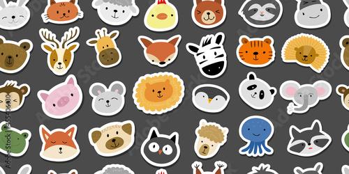 Fototapeta premium Animal Stickers Set. Childish Style. Seamless Pattern for your design