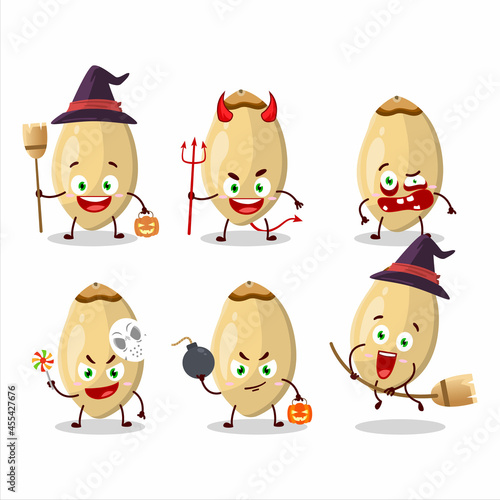 Fotografering Halloween expression emoticons with cartoon character of pine nuts