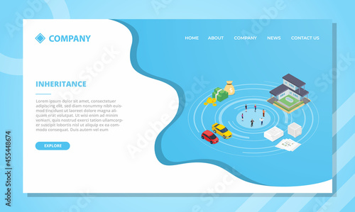 Fotografia inheritance concept for website template or landing homepage with isometric styl