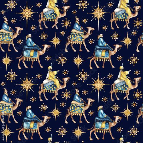 Fényképezés Three biblical Kings (Caspar, Melchior and Balthazar) follow the star