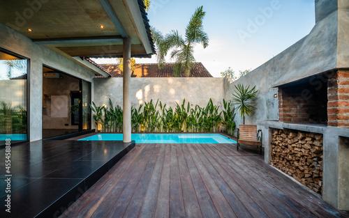 Fotografie, Obraz Grill area in the villa by the sea