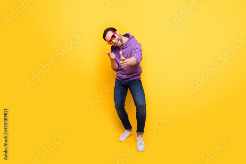 Slika na platnu Full body photo of young man happy positive smile have fun point fingers you cho