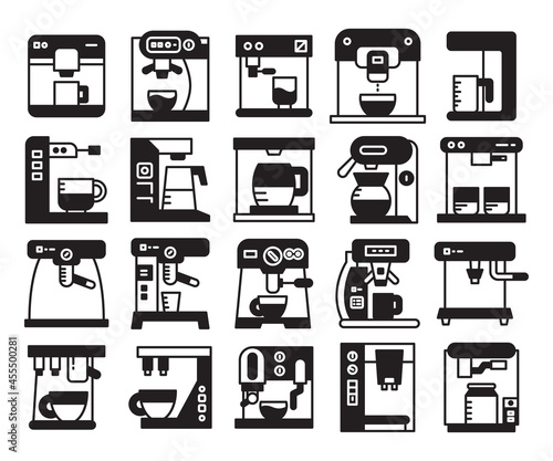 Fotografering coffee machine icons set vector