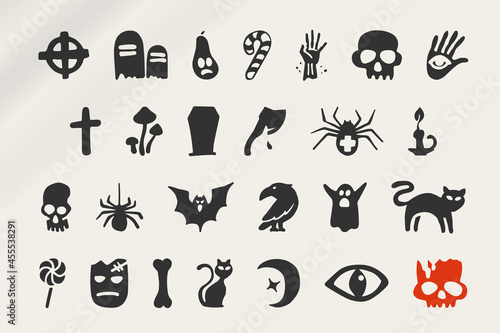 Fototapeta Hand-drawn icons set for your Halloween party design with famous metaphors