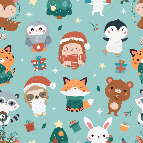 Fototapeta premium Christmas and New Year childish seamless pattern with forest animals. Cute kawaii cartoon characters - bear, leopard, bunny, fox, penguin, sloth, racoon, deer and hedgehog. Vector illustration.