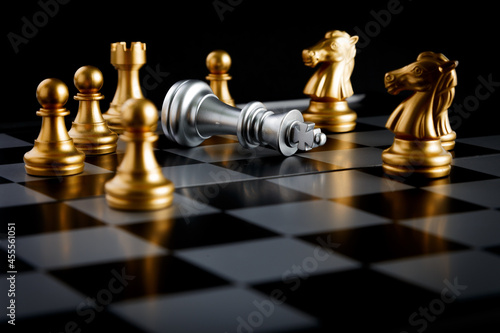 Chess board game concept for leadership and teamwork to strategy, business succe Fotobehang