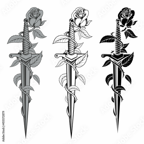 Fotografia Rose with dagger in black and white