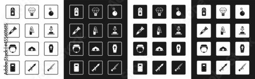 Foto Set Bomb ready to explode, Cocktail molotov, Flashlight, Chevron, Soldier grave, Box flying parachute, Coffin with cross and Military helmet icon