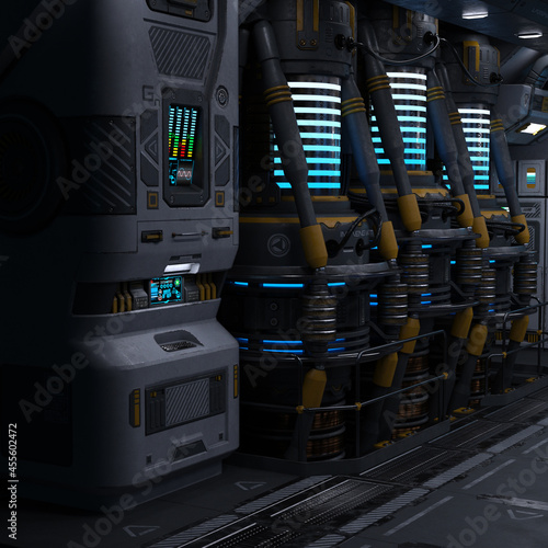 Canvas Print 3D-illustration of a large corridor in a science fiction starship