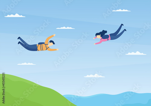 Obraz na plátně Skydive is a Type Sport of Outdoor Activity Recreation Using Parachute and High Jump in Sky Air