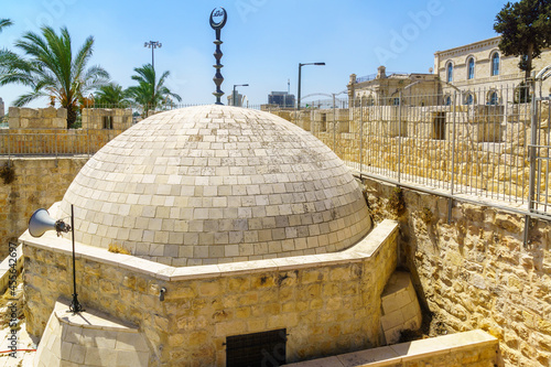 Canvas Mosque dome within the old city walls, in Jerusalem