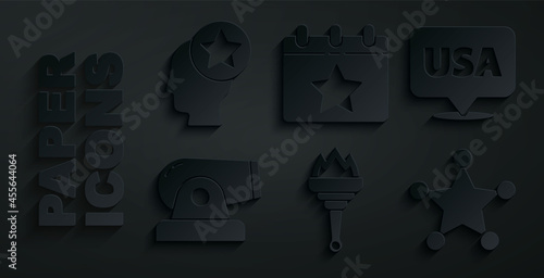 Fotografie, Obraz Set Torch flame, USA Independence day, Cannon, Hexagram sheriff, Calendar with date July 4 and Head icon