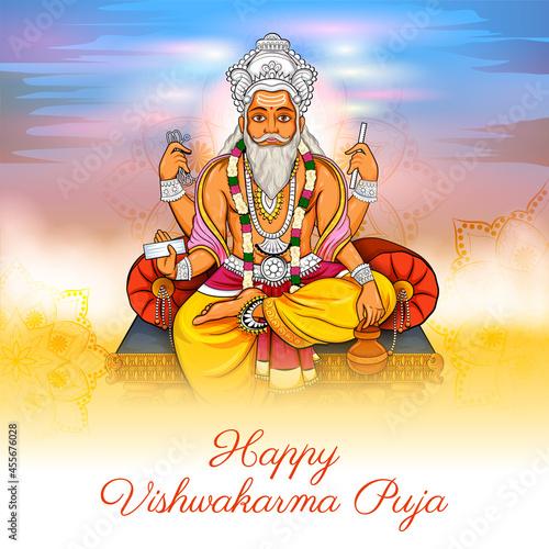 Leinwand Poster Hindu God Vishwakarma, an architect, and divine engineer of universe
