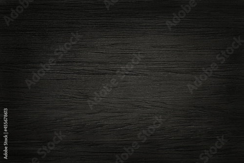 Stampa su Tela Black wooden wall background, texture of dark bark wood with old natural pattern for design art work, top view of grain timber