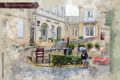Billede på lærred countryside  of Bordeaux region, France, in watercolor sketch style