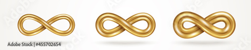 Fotografie, Tablou Infinity gold symbols set isolated on white background, various thickness