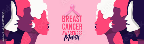 Fotografering Breast cancer awareness pink women face banner