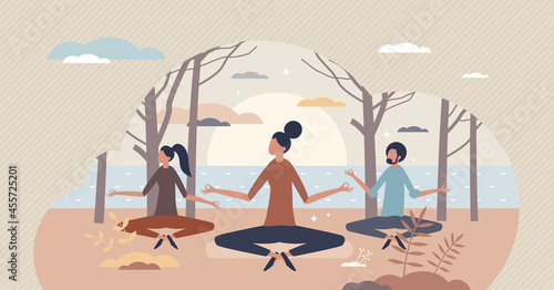 Fotografía Serene people and calm meditation as peace lifestyle tiny person concept