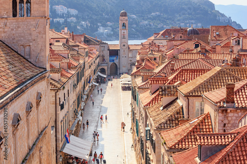 Fotografija Summer cityscape - top view of Stradun or Placa is the main street in the Old To