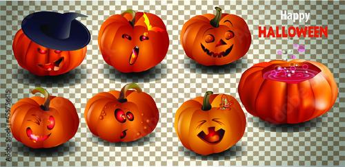 Fotografiet halloween pumpkin set