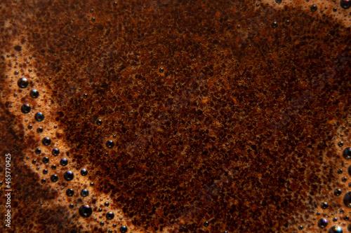Fotografering foam of hot custard coffee as background macro photo, coffee