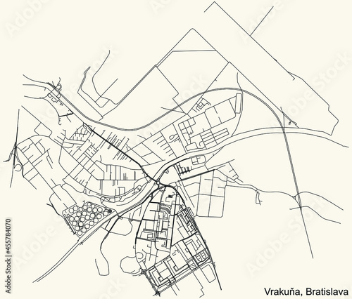 Fotografia, Obraz Detailed navigation urban street roads map on vintage beige background of the Br