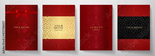 Valokuva Luxury red curve pattern cover design set