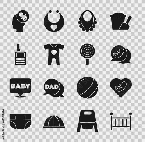 Set Baby crib cradle, inside heart, bib, clothes, Monitor Walkie Talkie, dummy pacifier and Lollipop icon Tapéta, Fotótapéta