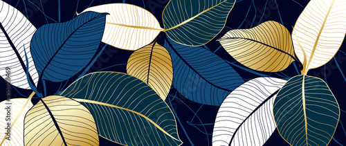 Fotografiet luxury gold and blue India rubber plant line art background vector