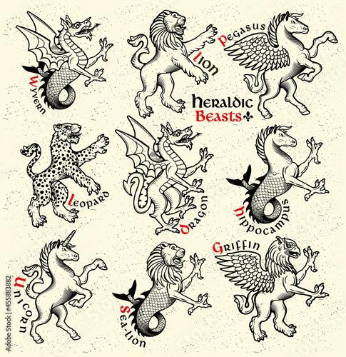 Murais de parede Heraldic beasts. Vector Illustration.