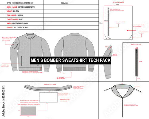 technical drawing, bomber technical drawing, jacket technical drawing, men's bom Fototapet